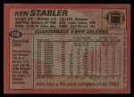 1983 Topps #118  Ken Stabler  Back Thumbnail