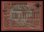 1983 Topps #153  Ottis Anderson  Back Thumbnail
