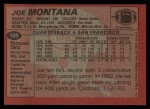 1983 Topps #169  Joe Montana  Back Thumbnail