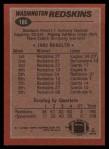 1983 Topps #186   -  John Riggins / Charlie Brown / Vernon Dean / Jeris White / Dexter Manley / Tony McGee / Mark Murphy Washington Redskins Leaders Back Thumbnail