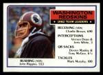 1983 Topps #186   -  John Riggins / Charlie Brown / Vernon Dean / Jeris White / Dexter Manley / Tony McGee / Mark Murphy Washington Redskins Leaders Front Thumbnail