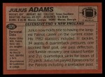 1983 Topps #325  Julius Adams  Back Thumbnail