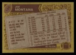 1986 Topps #156  Joe Montana  Back Thumbnail