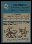 1964 Philadelphia #115  Don Chandler   Back Thumbnail