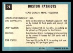 1964 Topps #21   Boston Patriots Team Back Thumbnail
