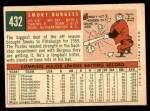 1959 Topps #432  Smoky Burgess  Back Thumbnail