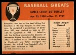1961 Fleer #9  Jim Bottomley  Back Thumbnail
