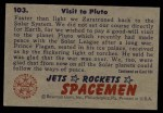 1951 Bowman Jets Rockets and Spacemen #103   Visit to Pluto Back Thumbnail