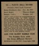 1948 Bowman #22  Floyd Bevins  Back Thumbnail
