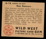 1949 Bowman Wild West #18 A  Gun Runners Back Thumbnail