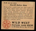 1949 Bowman Wild West #9 F  Sheriff Defies Mob Back Thumbnail
