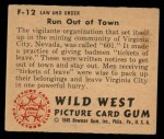 1949 Bowman Wild West #12 F  Run Out of Town Back Thumbnail