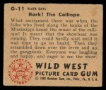 1949 Bowman Wild West #11 G  Hark! the Calliope Back Thumbnail