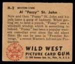 1949 Bowman Wild West #2 H Al Fuzzy St. John  Back Thumbnail