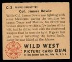 1949 Bowman Wild West #3 C Col. James Bowie  Back Thumbnail