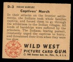 1949 Bowman Wild West #3 D  Captives' March Back Thumbnail