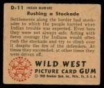 1949 Bowman Wild West #11 D  Rushing Stockade Back Thumbnail