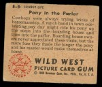 1949 Bowman Wild West #6 E  Pony in the Parlor Back Thumbnail
