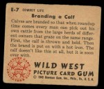 1949 Bowman Wild West #7 E  Branding Calf Back Thumbnail
