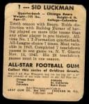 1948 Leaf #1  Sid Luckman  Back Thumbnail