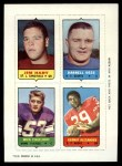 1969 Topps 4-in-1 Football Stamps  Jim Hart / Darrell Dess / Mick Tingelhoff / Kermit Alexander  Front Thumbnail