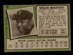 1971 Topps #50  Willie McCovey  Back Thumbnail