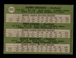 1971 Topps #633   -  Bobby Brooks / Pete Koegel / Scott Northey AL Rookies - Outfielders Back Thumbnail