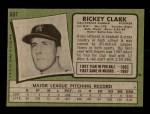 1971 Topps #697  Rickey Clark  Back Thumbnail