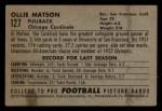 1952 Bowman Small #127  Ollie Matson  Back Thumbnail