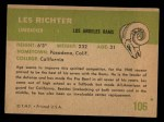 1961 Fleer #106  Les Richter  Back Thumbnail