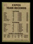 1971 Topps #674   Expos Team Back Thumbnail