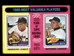 1975 Topps #203   -  Willie Mays / Zoilo Versalles 1965 MVPs Front Thumbnail