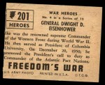 1950 Topps Freedoms War #201   General Dwight D. Eisenhower  Back Thumbnail
