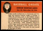 1961 Fleer #53  Judge Landis  Back Thumbnail