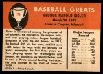 1961 Fleer #78  George Sisler  Back Thumbnail
