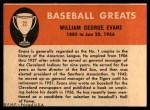 1961 Fleer #22  Billy Evans  Back Thumbnail