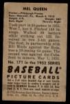 1952 Bowman #171  Mel Queen  Back Thumbnail