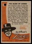 1958 Topps Zorro #86   The Blade Of Zorro Back Thumbnail