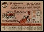 1958 Topps #105  Billy Gardner  Back Thumbnail
