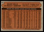 1972 Topps #437  Maury Wills  Back Thumbnail