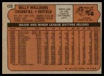 1972 Topps #439  Billy Williams  Back Thumbnail