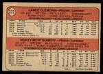 1972 O-Pee-Chee #372   -  Lance Clemons / Monty Montgomery Royals Rookies   Back Thumbnail
