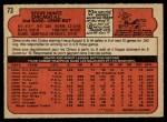 1972 O-Pee-Chee #73  Steve Huntz  Back Thumbnail