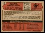 1972 O-Pee-Chee #449  Bob Lemon  Back Thumbnail