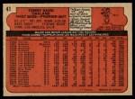 1972 O-Pee-Chee #41  Tommy Davis  Back Thumbnail