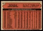 1972 O-Pee-Chee #437  Maury Wills  Back Thumbnail