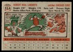 1956 Topps #314  Hobie Landrith  Back Thumbnail