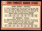 1969 Topps #519   -  Len Boehmer / Gerry Kenney Yankees Rookies Back Thumbnail