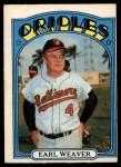 1972 O-Pee-Chee #323  Earl Weaver  Front Thumbnail