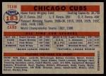 1957 Topps #183   Cubs Team Back Thumbnail
